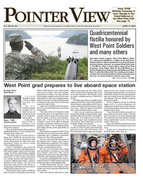 The front page of the West Point newspaper showing an article about a graduate who is going to live aboard a space station.