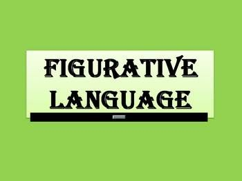 A photograph of a sign that says Figurative Language. It has a green background and black lettering