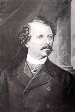 Painting a very serious looking man in formal, nineteenth-century attire; he has curly hair, mustache and a goatee.