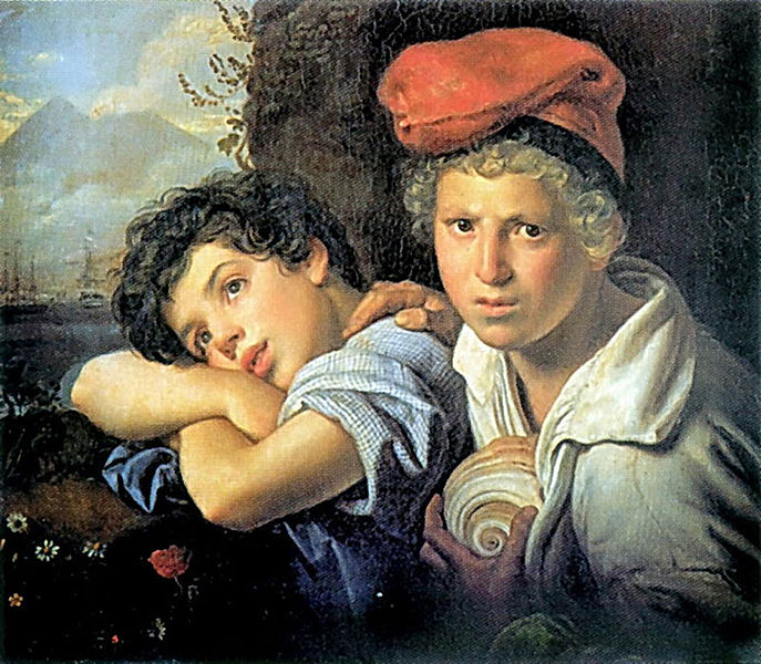 A painting of two boys one is looking at the artist the other is looking dreamily off into the distance.