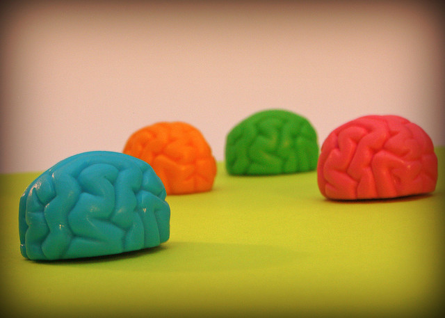 A photograph of four play dough brains