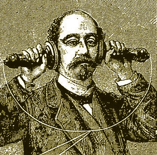 A drawing of a man holding two telephone receivers to his ears