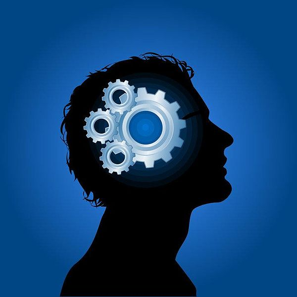 A graphic image/silhouette of a man's head with gears working inside of it
